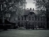stock photo of auschwitz  - Main entrance to former Nazi concentration camp Auschwitz I - JPG