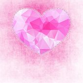 Abstract painted pink texture and big heart