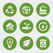 pic of recycle bin  - Vector ecology and recycling icons set on grey background - JPG