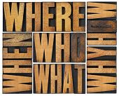 who, what, how, why, where, when, questions  - brainstorming or decision making concept - a collage