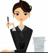 picture of beside  - Illustration of an Office Girl in a Black Suit Sitting Beside a Stack of Paper - JPG