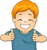 Illustration of a Little Boy Giving Two Thumbs Up