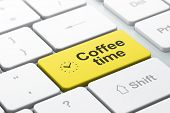 Time concept: Clock and Coffee Time on computer keyboard background