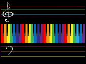 foto of rainbow piano  - The piano color keyboard on black background - JPG