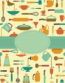 stock photo of food preparation tools equipment  - Background with icons of kitchen ware and utensils - JPG