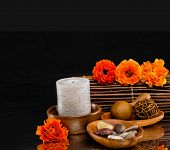 Spa feeling with orange flower with and candle