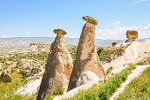 stock photo of chimney rock  - Chimney rock formation in Cappadoccia Central Turkey - JPG