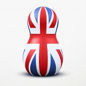 Russian tradition matrioshka dolls in British flag style.