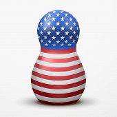 Russian matrioshka in U.S. flag color.