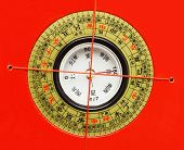 Chinese Feng Shui Compass On Red Background