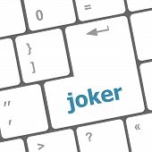 stock photo of joker  - Computer keyboard keys with joker - JPG