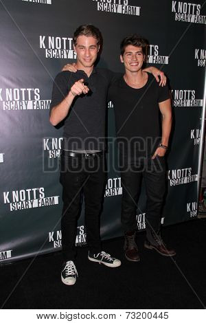 LOS ANGELES - OCT 3:  Cameron Fuller, Gregg Sulkin at the Knott's Scary Farm Celebrity VIP Opening  at Knott's Berry Farm on October 3, 2014 in Buena Park, CA