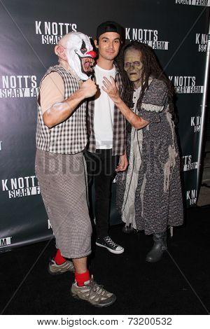 LOS ANGELES - OCT 3:  Tyler Blackburn at the Knott's Scary Farm Celebrity VIP Opening  at Knott's Berry Farm on October 3, 2014 in Buena Park, CA