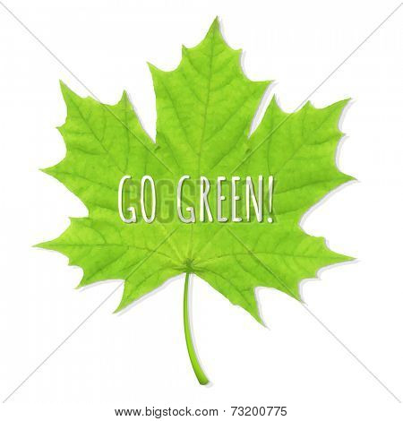 Green Leaf Go Green, Vector Illustration