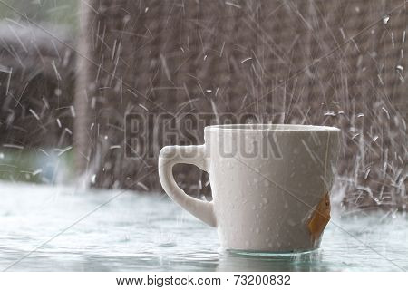 Bad Day for having a Drink Outside in Rain