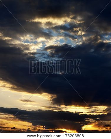Sunrise Sky With Sun And Sunrays