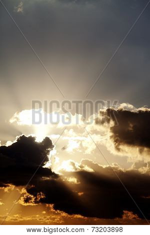 Sunset Sky With Sunrays