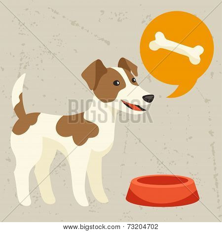 Background with dog says he wants to eat.
