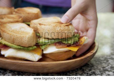 Serving Egg Sandwiches