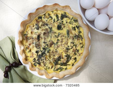 Spinach Quiche With Green Napikin