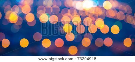 Panorama Merry Christmas Lights Abstract Circular Bokeh On Blue Background, Closeup
