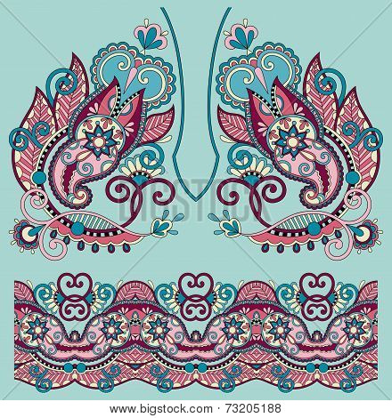 Neckline ornate floral paisley embroidery fashion design, ukrain