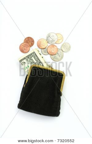 Purse with one dollar and coins