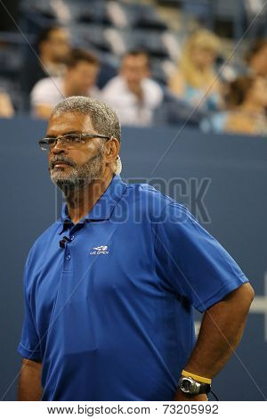 Unidentified security guard providing security at Billie Jean King National Tennis Center at US Open