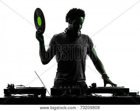 one disc jockey man in silhouette on white background