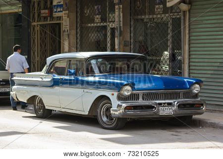 Blue Oldtimer With Arabic Plate