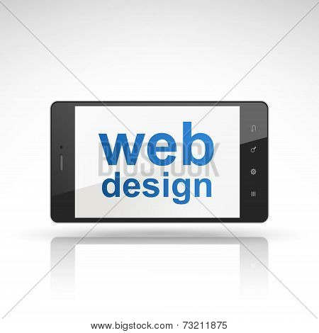 Web Design Words On Mobile Phone