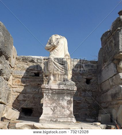 Statue in ruins of Ephesus Turkey
