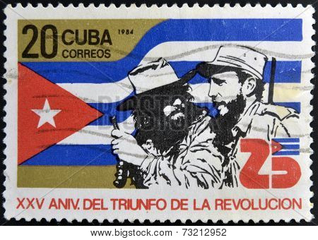 CUBA - CIRCA 1984: A Stamp dedicated to 25th Anniversary of the Victory of the Cuban Revolution