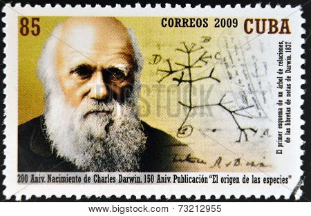 CUBA - CIRCA 2009: a stamp printed in Cuba shows an image of Charles Darwin circa 2009