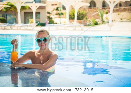 Girl in pool bar