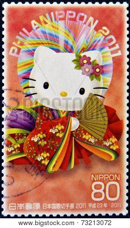 JAPAN - CIRCA 2011: A stamp printed in Japan shows Hello Kitty circa 2011