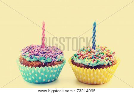 Birthday cupcakes vintage on a white background