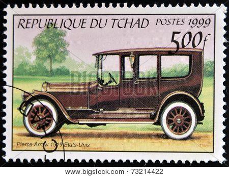 CHAD - CIRCA 1999: A stamp printed in Chad shows vintage car Pierce Arrow USA circa 1999