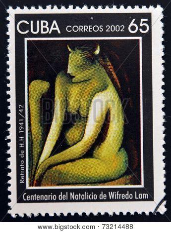 CUBA - CIRCA 2002: A stamp printed in cuba shows portrait of H.H. by Wifredo Lam circa 2002