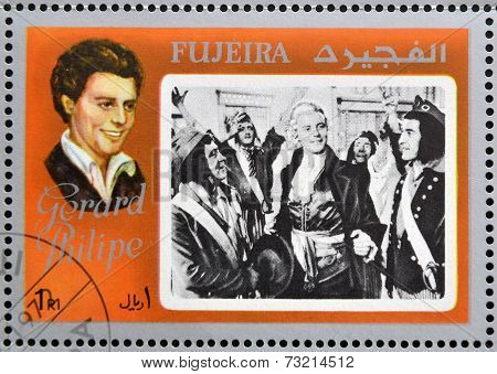 FUJEIRA - CIRCA 1972 : stamp printed in Fujeira shows actor Gerard Philipe circa 1972