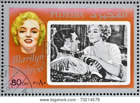 FUJEIRA - CIRCA 1972 : stamp printed in Fujeira shows actress Marilyn Monroe circa 1972