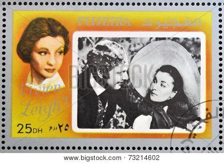 FUJEIRA - CIRCA 1972 : stamp printed in Fujeira shows actress Vivien Leigh circa 1972