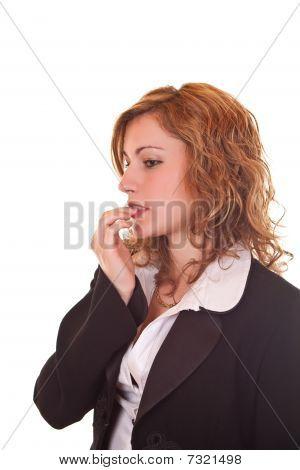 Nervous  Blond Business Woman