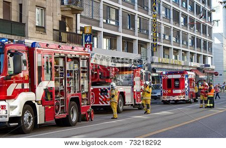 Firetrucks in Geneva, Switzerland
