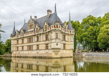 View At The Chateau Azay Le Rideau With Moat