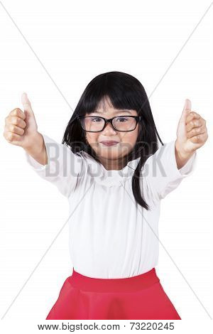 Little Schoolgirl Showing Thumbs Up
