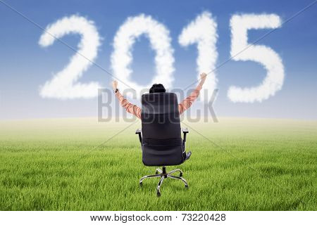 Male Entrepreneur On Chair With Number 2015