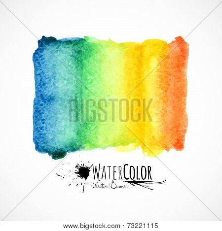 Watercolor bright colors painted isolated banner
