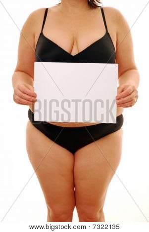 Chubby Lady holding sign