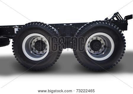 Truck Wheels On White